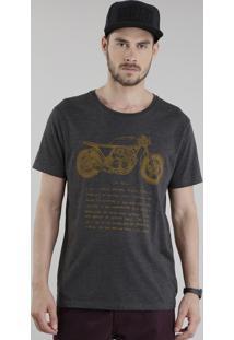 "Camiseta ""Moto"" Cinza Mescla"