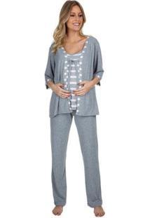 Pijama Gestante Triplex Loving Strips Feminino - Feminino-Cinza