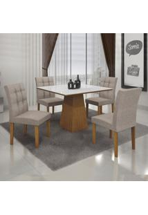 Conjunto De Mesa De Jantar Com 4 Cadeiras Itália Veludo Imbuia E Branco