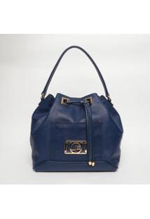 Bolsa Saco Em Couro - Azul Marinho- 31X45X16Cmjorge Bischoff