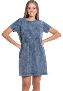 Vestido Feminino Com Lavação Na Malha Azul