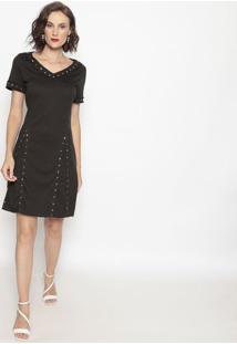 Vestido Em Moletom Com Pedraria- Preto- Shirley Dantshirley Dantas