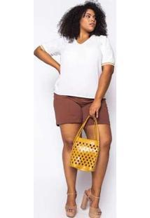 Blusa Almaria Plus Size Enois Lisa Off White Branco