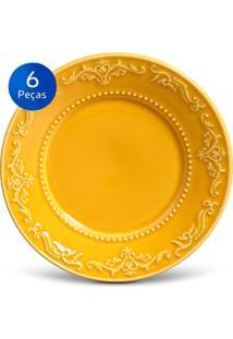 Conjunto Pratos Sobremesa Acanthus - 6 Peças - Porto Brasil - Mostarda