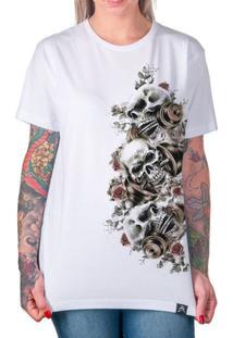 Camiseta Caveira Artseries Feminina - Feminino-Branco