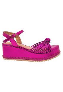Sandália Anabela Flatform Dom Amazona Números Grandes Pink 485057