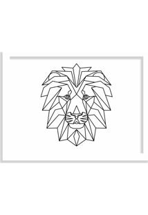 Quadro Decorativo Line Drawing Leão Branco - Grande