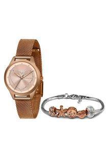 Kit Relógio Feminino Lince Lrr4557L Ki43R1Rx Analógico + Brinde | Lince | Rosa | U