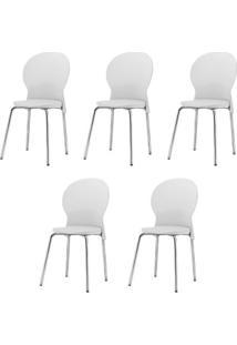 Kit 5 Cadeiras Luna Assento Branco Base Cromada - 57697 - Sun House