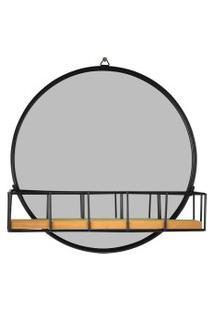 Espelho Preto Com Mini Prateleira 25Cm Kasa Ideia