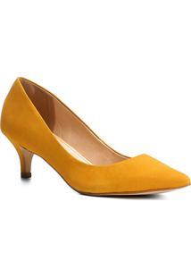 Scarpin Couro Shoestock Salto Médio Nobuck - Feminino-Amarelo