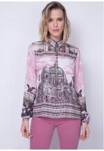 Camisa Fluída Estampada Lança Perfume Feminina - Feminino-Rosa