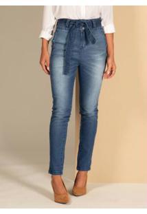 Calça Jeans Com Faixa Para Amarrar