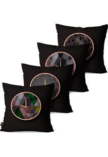 Kit Com 4 Capas Para Almofadas Pump Up Decorativas Relã³Gios Com Fundo Preto 45X45Cm - Preto - Dafiti
