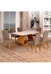 Conjunto De Mesa De Jantar I Com 6 Cadeira Esmeraldas Veludo Off White E Camurça