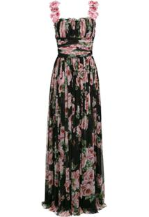 Dolce & Gabbana Vestido Plissado Floral De Seda - Preto
