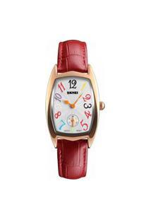 Relógio Skmei Analógico 1323 Rosê E Vermelho