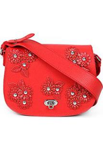Bolsa Couro Luiza Barcelos Mini Bag Flowers Feminina - Feminino-Vermelho