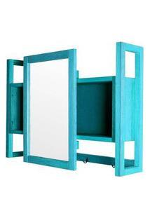 Armario Aereo C/ Espelho Troia Estrutura Azul 86Cm - 61429 Azul