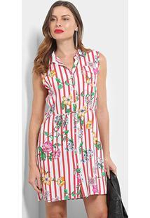 Vestido Pérola Floral Listras - Feminino-Vermelho