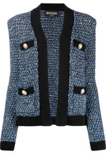 Balmain Jaqueta De Tweed Com Paetês - Azul