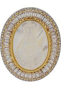 Pingente Narcizza Semijoias Nossa Senhora Aparecida Oval Madrepérola E Baguetes Cristal Ouro