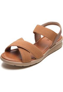Sandália Usaflex Tiras Elásticas Caramelo