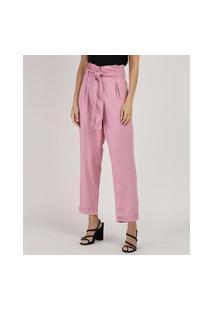 Calça Feminina Clochard Cintura Super Alta Com Faixa Para Amarrar Rosa Claro