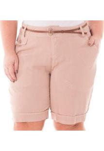 Bermuda Alfaiataria Com Bolso Plus Size Confidencial Extra Feminina - Feminino-Rosa