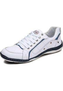 Sapatênis Cla Cle Couro Branco E Azul