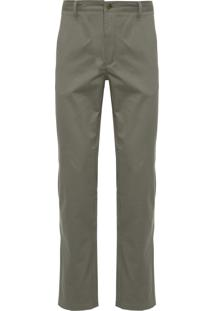 Calça Masculina Chino Sólida Algodão - Verde