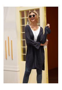 Cardigan De Lã Astana Feminino - Cinza Escuro