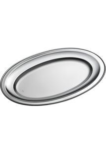 Travessa Brescia Oval Pequena Inox Com Cordão Estampado - Riva