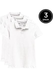 Kit 3 Camisas Polo Basicamente Feminino - Feminino-Branco