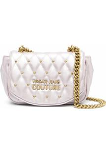 Versace Jeans Couture Metallic-Tone Quilted Shoulder Bag - Roxo
