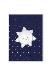 Quadro Mdf Estrela Sol Azul Marinho 40Cm Gráo De Gente Azul