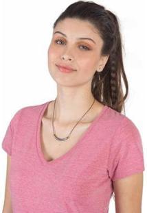 Blusa Taco Gola V Básica Feminina - Feminino-Pink