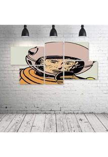 Quadro Decorativo - Astronaut-Retro - Composto De 5 Quadros - Multicolorido - Dafiti