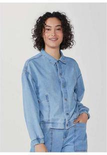 Jaqueta Feminina Bomber Em Jeans Azul