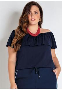 Blusa Plus Size Ciganinha Marinho Com Babado