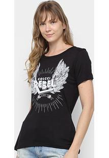 Camiseta Colcci Silk Rebel Feminina - Feminino-Preto