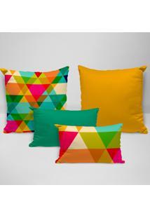 Kit 4 Almofadas Premium Triângulos Multicolor