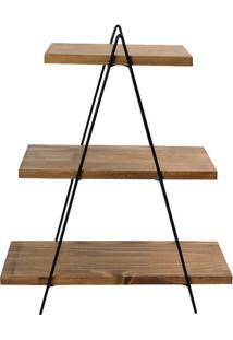 Prateleira Escada Com 3 Andares- Marrom & Preta- 46,Decor Glass