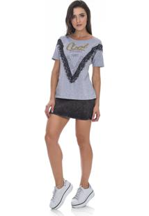 T- Shirt Malha Detalhe Parado No Ar Silk - Cinza