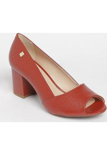 Peep Toe Com Recorte Sobreposto- Vermelho- Salto: 6Cloucos E Santos