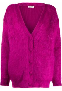 Saint Laurent Cardigan Gola V - Roxo