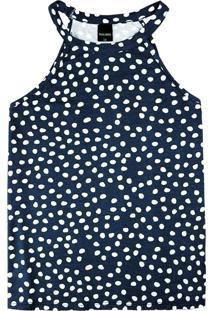 Blusa Azul Marinho Estampada