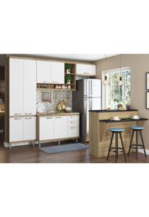 Cozinha Completa Com Bancada E Balcão Sem Tampo 5 Peças 8 Prateleiras Sicília Multimóveis Argila/Branco