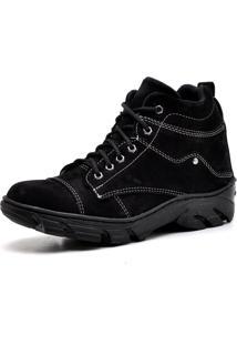 Bota Coturno Adventure Top Franca Shoes Preto / Branco
