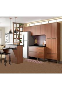 Cozinha Compacta Com Tampo 13 Portas 5464 Nogueira - Multimóveis